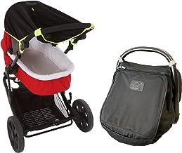 Nyfödd baby solskydd bunt - Snoozeskugga original (0-6 m) barnvagnssolskydd (grön kant) och snoozeskugga spädbarn bilsäte ...