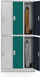 Lüllmann 3B2A - Taquilla de metal (6 compartimentos, chapa de acero pulverizado, 185 x 90 x 45 cm), multicolor