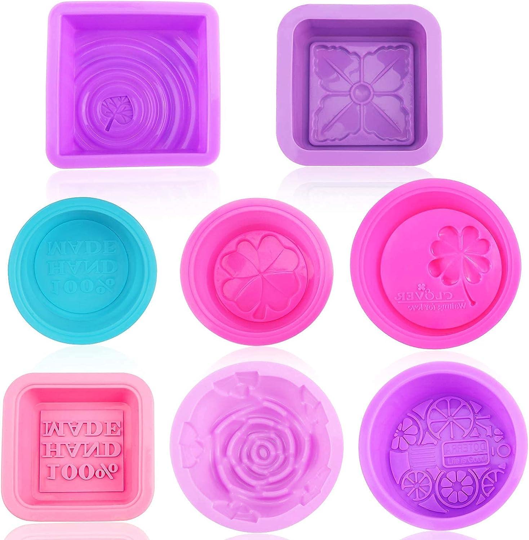 8 piezas Moldes de silicona suave para hacer jabón, molde jabon reutilizable, apto para uso alimentario, para hacer magdalenas, Chocolate, magdalenas, reposteria, postres, velas, hacer manualidades
