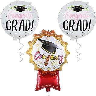 Graduation Balloons for Graduation Party Supplies 2019 - 2 Congrats Grad Balloon | 1 Congrats Medal Graduation Ballon | Graduation Foil Mylar Balloons for Graduation Decorations | Black, Red and Pink