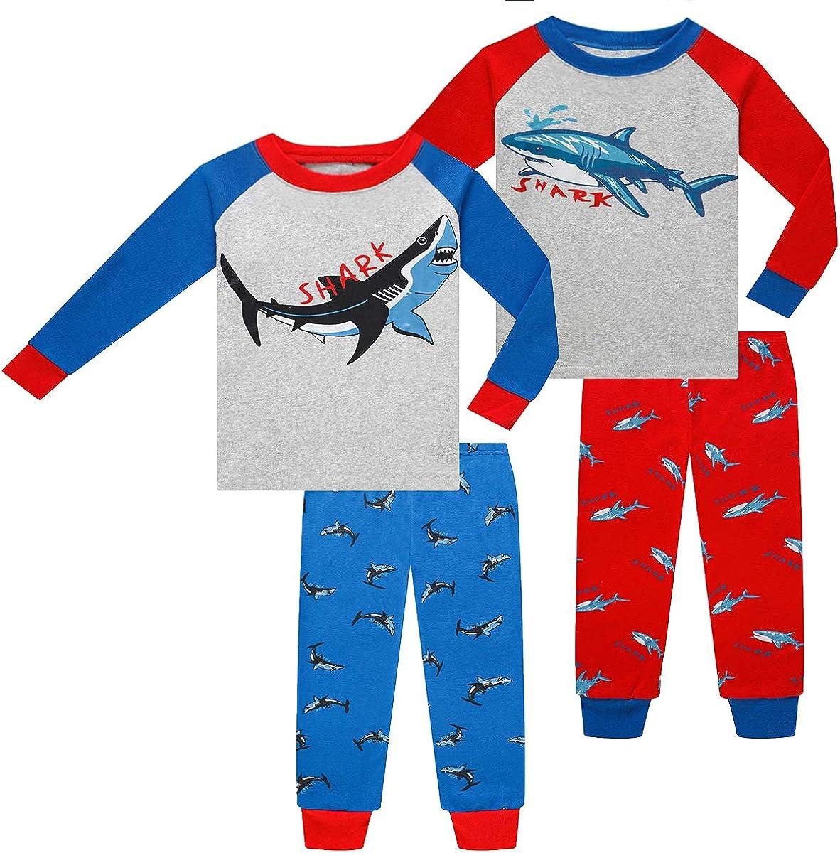 Joyond Cotton Pajamas for Boys Toddler Clothes Kids Snug-Fit Long Sleeve Pjs Pants Set(blue&red shark, 12)