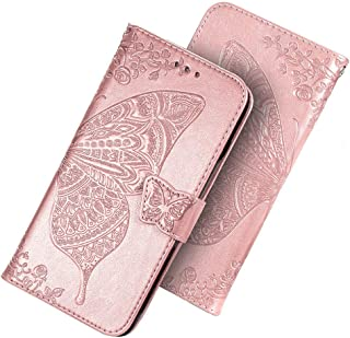 HAOTIAN Funda para Huawei Y6p 2020 Funda, Suave PU Cuero Flip Carcasa Case Cover, Cubierta Magnética en Relieve de la Mariposa, Billetera con Soporte/Tapa Tarjetas. Oro Rosa