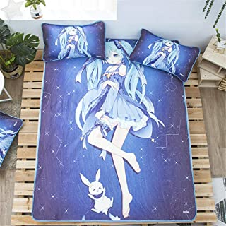 Mxdfafa Japanese Anime Snow Miku Printed Summer Ice Silk Sleeping Cool Mattress Tencel Air Conditioning Soft Topper Pad Cartoon Bed Summer Washable Folding Mat Cute Bedding Set (B,Queen)