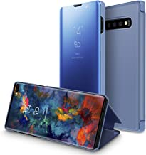 Mapzi Compatible for Samsung Galaxy S10 Plus Case Flip Case Kickstand Mirror Luxury Electroplate Plating Smart Clear View Cover Samsung Galaxy S10 Plus (Blue)