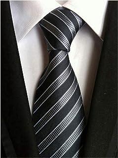 Secdtie Men's Classic Stripe Jacquard Woven Silk Tie Formal Party Suit Necktie