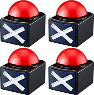 4 Packs Game Answer Buzzers, Buzzer Alarm Buttons with Sound and Light, Quiz Game Show Party Contest Answer Button Props f...