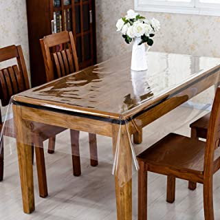 """Kuber Industries Transparent PVC 6 Seater Dining Table Cover 60""""x90""""(Transparent)-KUBMART02703"""