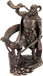 Veronese 9 1/2 Inch Norse God Heimdall Bronzed Finish Statue Pagan