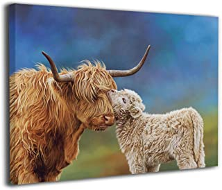 Marshallgary Canvas Wall Art Prints Highland Cattle Cow Calf -Picture Paintings Contemporary Home Decoration Giclee Artwork-Wood Frame Gallery Wrapped 16x20 in