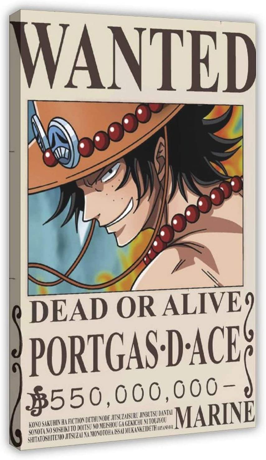 One Piece Wanted Portgas D mart Ace Wall Canvas Anime Free shipping Posters Poster