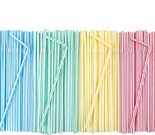 Tomnk 500 Pcs Flexible Plastic Drinking Straws Bendable Straws Striped Multi Colored Disposable Bendy Straws