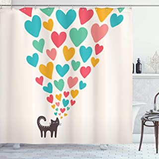 """Ambesonne Cat Lover Shower Curtain, Cat in Love with Colorful Different Size Hearts Happy Kitty Clipart, Cloth Fabric Bathroom Decor Set with Hooks, 70"""" Long, Soft Ivory"""