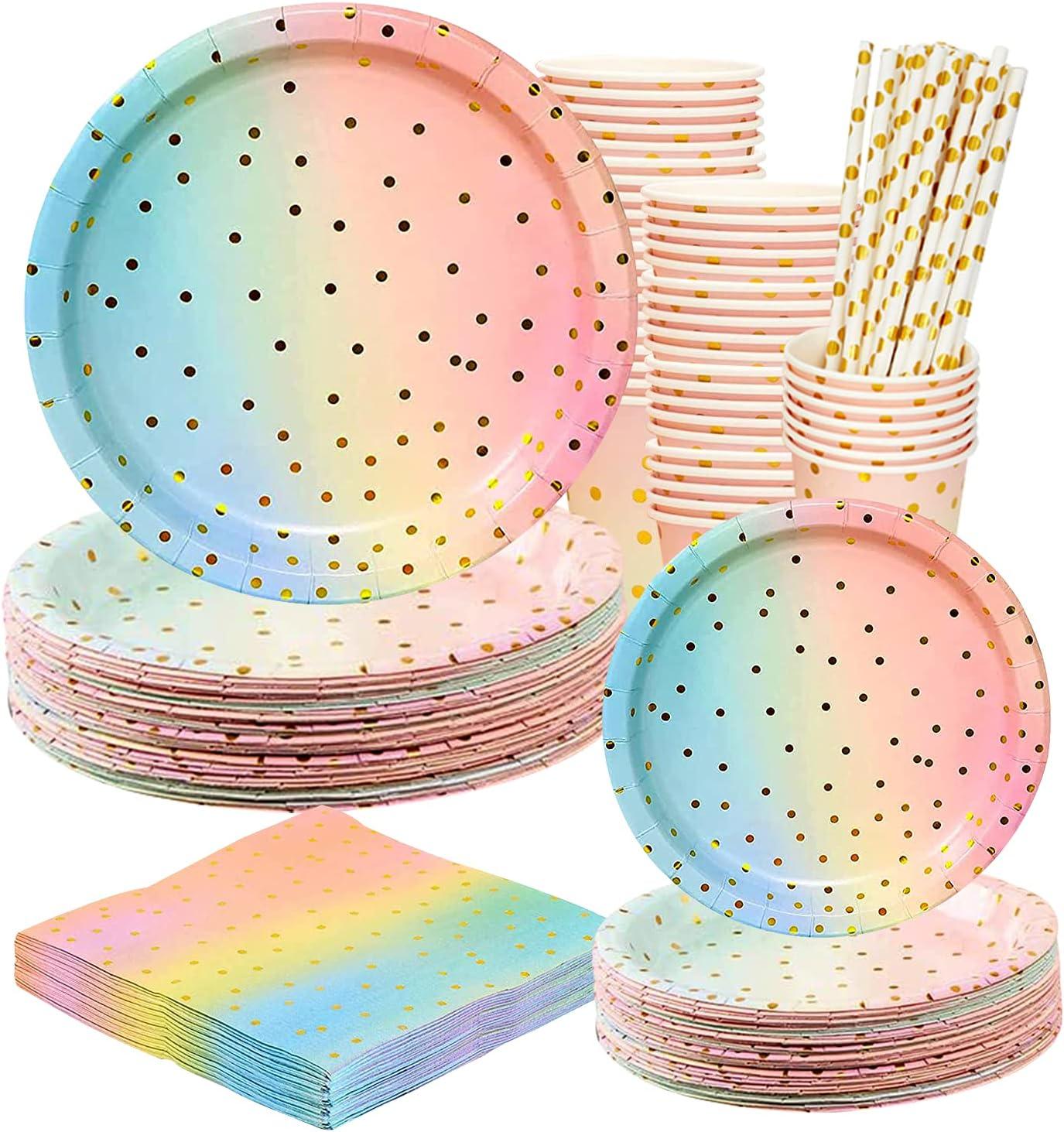 DANXIAN Juego de vajilla desechable para fiestas, juego de vajilla de 25 tazas, 25 platos de 17,6 cm, 25 pajitas, 25 servilletas para fiestas, cumpleaños, bodas, aniversarios