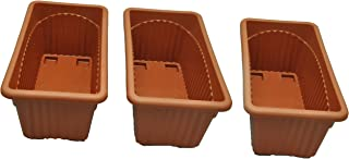 First Smart Plastic Rectangle Pot (Brown, Pack of 3)