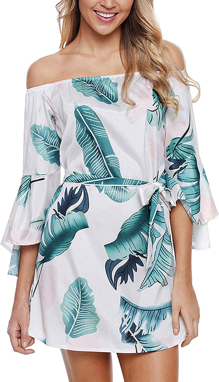 Kulee Women's Flare Sleeve Sexy Off Shoulder Printed Mini Dress