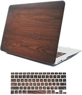 iCasso MacBook Air 11 inch Case Rubber Coated Glossy Hard Shell Plastic Protective Cover for MacBook Air 11 inch Model A1370/A1465 with Keyboard Cover (Wood)