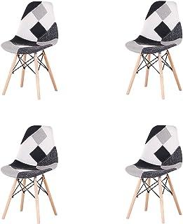 GrandCA HOME Pack de 4 sillas Sillas de Retazos Multicolores en Tela de Lino Sillas de Sala de Estar de Ocio Sillas de Comedor con Respaldo de cojín Suave (Gris-4 sillas)