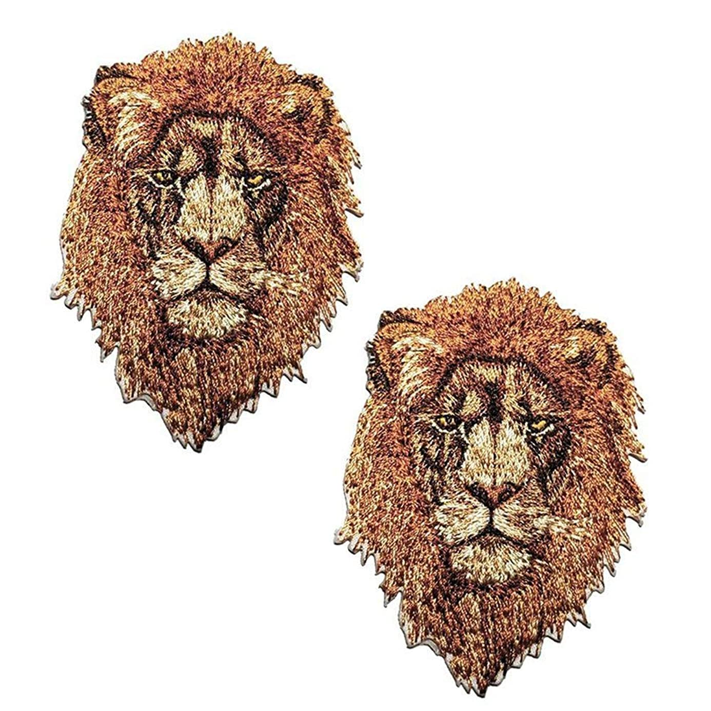 2 Pack Delicate Embroidered Patches, Iron On Patches, Cool Embroidery Patches, Sew On Applique Tiger Patch, Custom Backpack Patches for Men, Boys, Kids, Super Cool! (#2 Lion (2 Pack)) vwj4981022