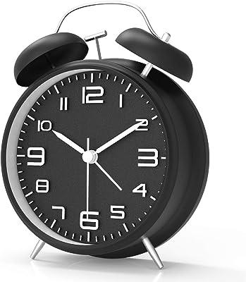 目覚まし時計 大音量 アナログ めざまし時計 おしゃれ 置き時計 連続秒針 静音 電池式 クロック ナイトライト付 ベル 数字大きい見やすい 卓上時計 ブラック