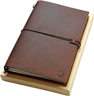 Large Leather Journal – The Wanderings Grande Refillable Travel Notebook –..