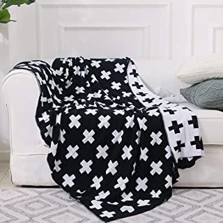 DOKOT Black and White Throw Blanket Swiss Cross Pattern 100% Cotton Knitted (43x51 inches, Swiss Cross)