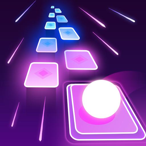 Ball Hop Neon Tiles - Free EDM Music Rush Game!