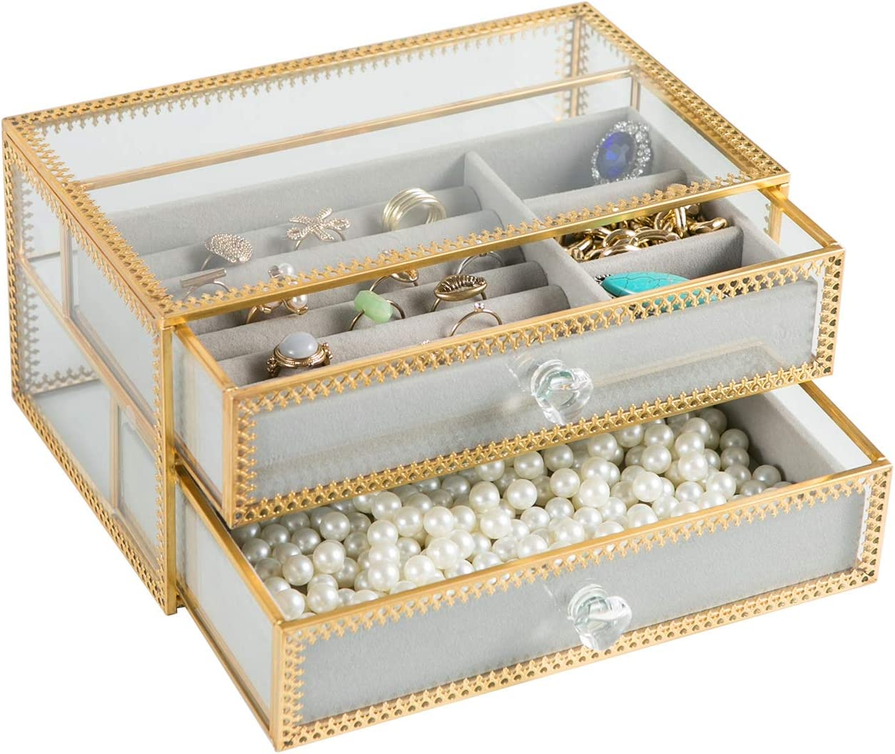 Vanity Vintage Dedication Clear Ranking TOP18 Glass Golden Jewelry Box 2 Drawers