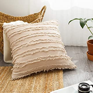 Beige Tassel Throw Pillow Cover, Cotton Linen Blend Fluffy Decorative Pillows Cushion Cover, Home Decor Shabby Chic Decorations for Sofa Couch Bed Chair 18x18 inches, 1 Pack (18