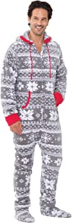 PajamaGram Fun Adult Onesie Men - Footed Pajamas for Men, Warm Fleece