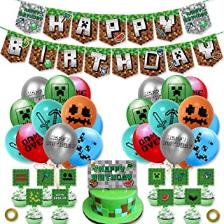 OfferMax Pixel Style Gamer Birthday Party Supplies - Happy Birthday Banner Balloons Cake Topper and Cupcake Toppers for Mi...