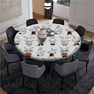 Customized Table Cloth,Round 42 Inch Table,Pull Rope Edge Fitted Table Cover,Full-size,Funny,Cute Retro Bunny Rabbits with Costumes Jack Hare Funky Bunnies Carrot Sketch Style,Orange White