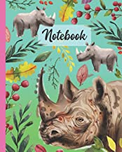 """Notebook: Rhinoceros - Zoo Animals Diary / Notes / Track / Log / Journal , Book Gifts For Women Men Kids Teens Girls Boys Friends 8x10"""" 110 Pages"""