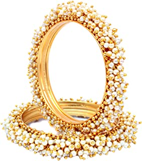 Best designs of gold bangles studded with pearls Reviews