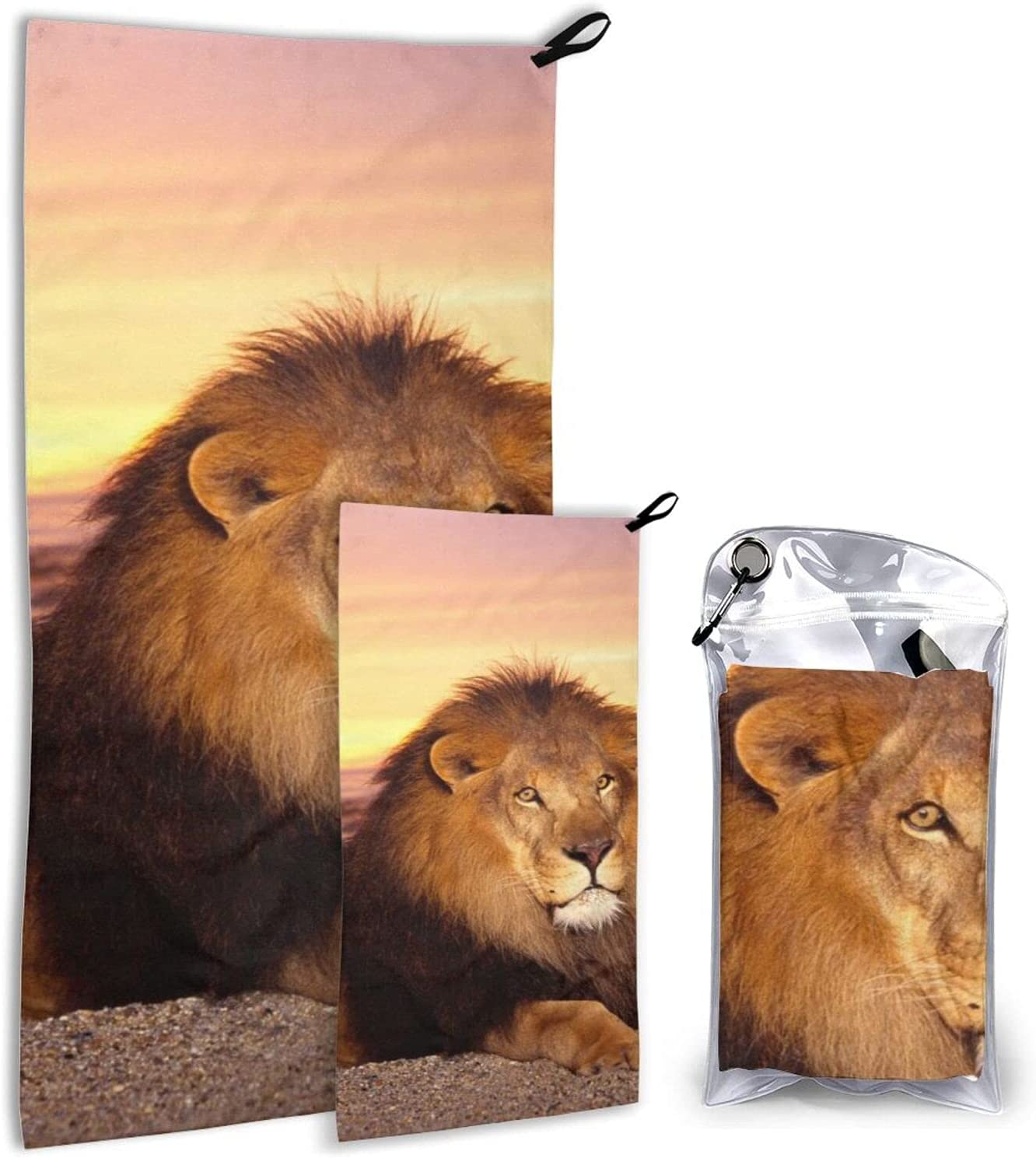 BTMGJKEY Lion at Now on sale Dusk Beach Towel 2 SEAL limited product Soft Breathable of and Set