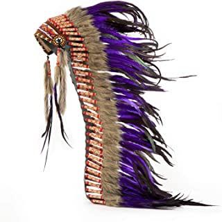Pink Pineapple Handcrafted Native American Inspired Long Feather Headdress, Purple and Black