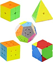 H XD global Speed Cube Set of 2x2 3x3 Pyramid Magic Cube, Megaminx Cube, Skewb Cube Stickerless Cube, Puzzle Toy (5 Pack)