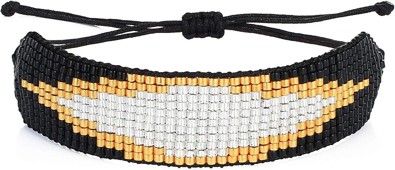 KELITCH Wax Rope Wrap Bracelets Heart Beat Shape Miyuki Statement Bracelets Handmade Braided Jewelry