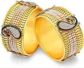طقم أساور طاووس ميناكاري أنيقة من سوكي بيرل مطلية بالذهب مجموعة من 2 قطعة للنساء (32357BGLDPP600_2.8)، مقاس حر