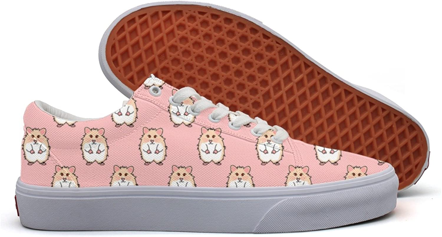 Cute Red Eyes Hamster On Pink Background Women's Casual Sneakers shoes Flat Slip Spring Trainers