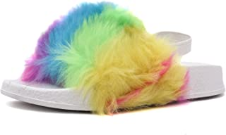 Girls Comfy and Lightweight Rainbow Fur Sandal Slides Slippers for Toddler, Little Kid and Big Kid