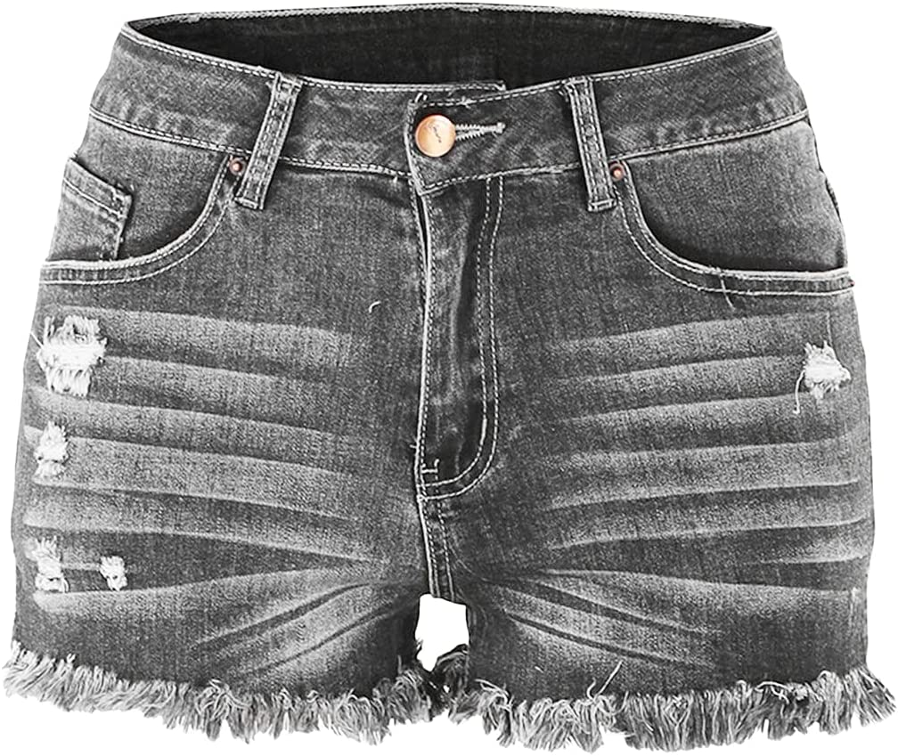 Distressed Ripped Denim Shorts for Women High Waist Frayed Hem Summer Short Jeans Casual Destroyed Hole Jean Hot Pants (Grey,X-Large)
