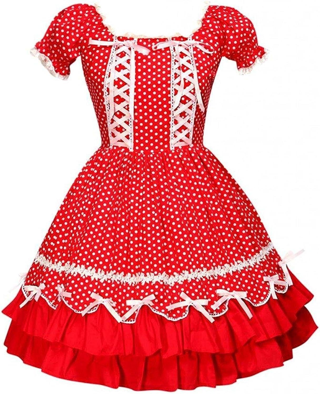 Cemavin Womens Red Cotton Short Sleeves Square Neck Drawstring Lolita Dress