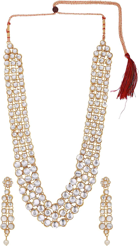 Efulgenz Indian Bollywood Traditional Kundan Wedding Choker Multilayer Necklace Dangler Earrings Jewelry Set