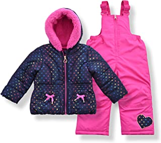 Infant & Toddler Girls Puffer Jacket with Fleece Lining and Snow Bib Pants Set