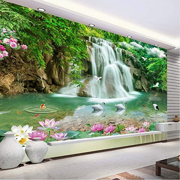 Hwhz Custom Photo Mural Wallpaper Hd Waterfall River White Swan Green Tree Nature Pastoral Landscape 3D Mural Wallpaper For Walls 3 D 250X175Cm