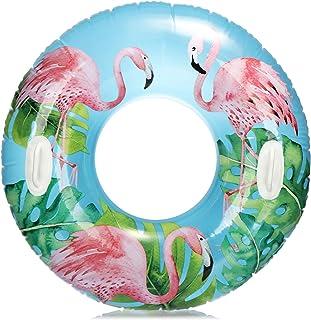 com-four® Neumático de natación con Motivo de Flamenco - Anillo de natación para divertirse Nadando - Anillo de Agua Inflable para niños y Adolescentes (01 Pieza - Flamingo)