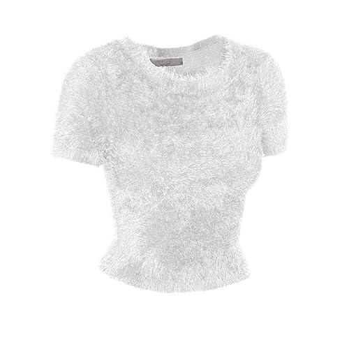 1c185c14be4cb2 Emmalise Fuzzy Eyelash Sweater Cute Short Crop Top Fashion Shirt for Women