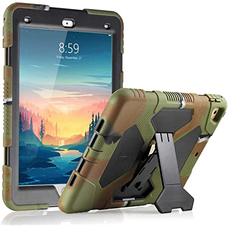 iPad Case 9.7 inch for 2017 iPad 5th Generation Case /2018 iPad 6th Generation Case/iPad Air 2 Case /2016 iPad Pro Case, Heavy Duty Shockproof Silicone Protect Case(Army Green Camouflage Black-T)