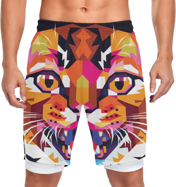 Running Shorts Amazing Cat Head Pop Art Training free Sport Men Max 46% OFF Worko