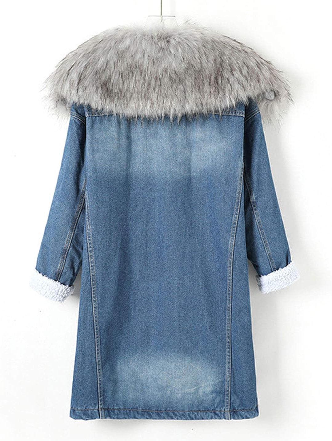 Omoone Women's Loose Warm Mid Long Fleece Lined Denim Jacket Trench Coat